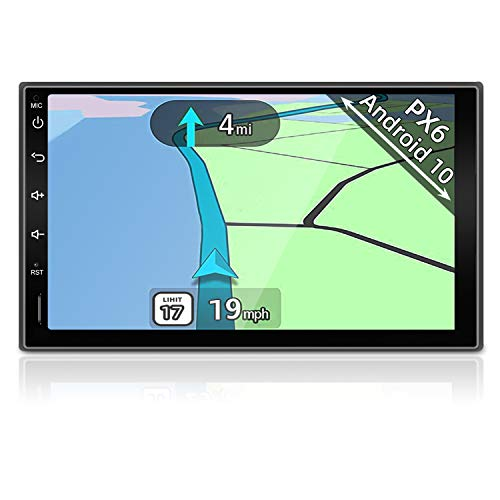 YUNTX PX6 Android 10 Autoradio GPS 2 Din - 4G+64G - Bluetooth 4.0 avec Caméra de Recul - 7  Écran - Soutien Dab+   Bluetooth  4G  WiFi USB FM Commande au Volant   OBD2   Mirrorlink Carplay