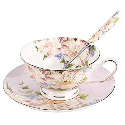 JinGlory Pink Tea Cup,Floral Tea Cup and Saucer Set,Bone China Tea Set,Coffee Cup,Tea Set for Adults/Friends/Women/Men,7OZ