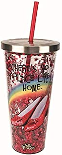 Spoontiques 21300 Wizard Of Oz Glitter Cup With Straw, 20 ounces, Red