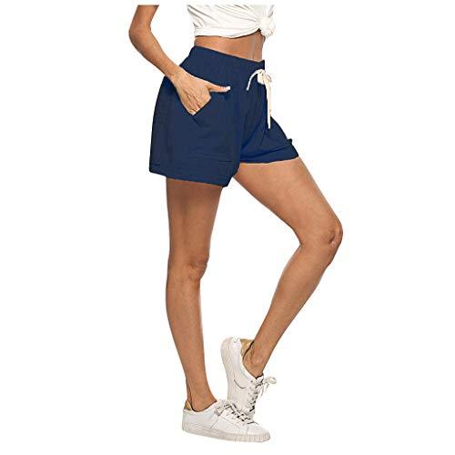 Xniral Box Shorts Damen Shorts des Täglichen Lebens Chino Shorts Hose mit Kordelzug Baumwolle und Leinen Hot Shorts mit weitem Bein(Marine,XXL)