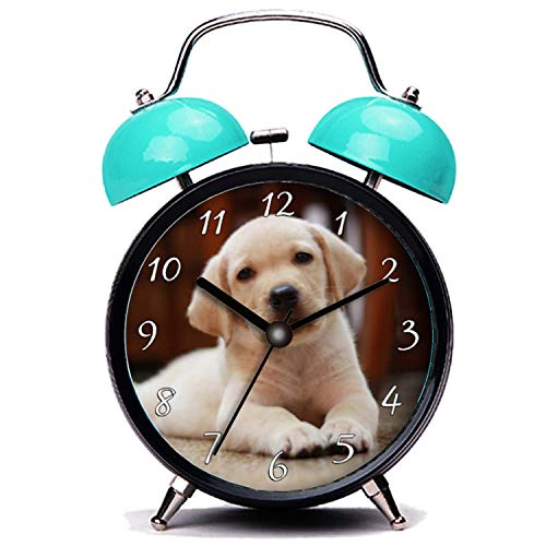 GIRLSIGHT3 Blue Alarm Clock,Dog Baby Yellow Labrador Puppy Dog Laying on Belly Loud Alarm Clock Twin Bell Alarm Clocks with Nightlight