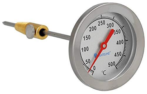 Lantelme 500 Grad Thermometer Analog 15cm Sonde Backofen Pizzaofen Grill Bbq Smoker Edelstahl Ersatzteil Bimetall 8030
