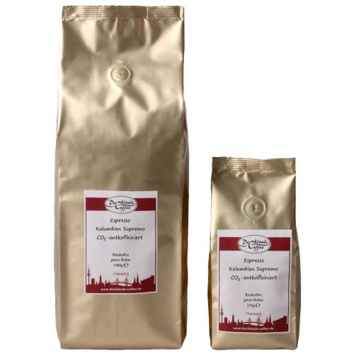 Espresso Kolumbien Supremo CO2-entkoffeiniert ItemWeight 1000g, FlavorName ganze Bohnen