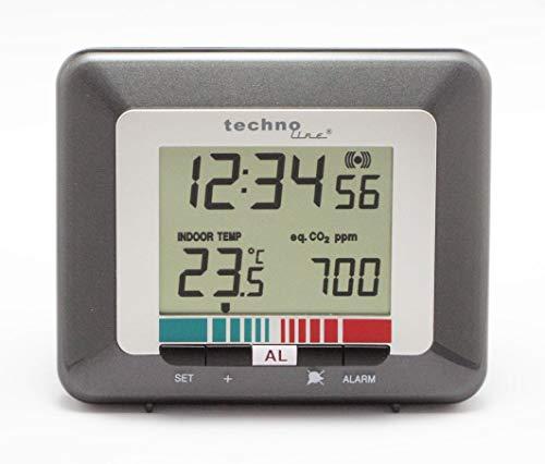 Luftgütemonitor WL 1005, misst Luftqualität, Anzeige der Uhrzeit, Temperatur, Luftgüte, Qualitätsindikator