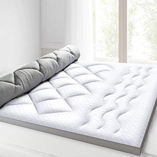 BedStory Mattress Topper 2.5 Inch, Ultra Soft Bed Topper with 100% Hypoallergenic Down Alternative Fiber, Breathable Hotel Quality Mattress Pad with 4 Anchor Bands, Mesh Cover Design (135x190cm)