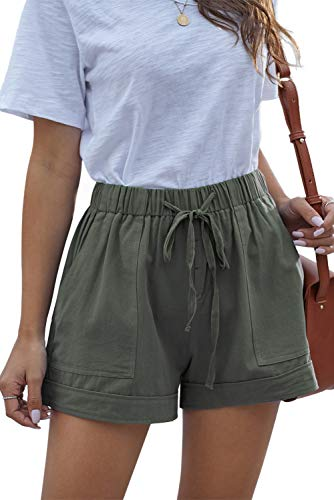 NEYOUQE Womens Comfy Draw String Casual Loose fit Lightweight Pants 5 inch Inseam Elastic Waist Thigh Pocket Chino Shorts Polyester Spandex Sage Green L