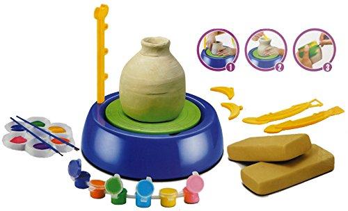 Brigamo 45103 - Kinder Töpferstudio, Töpferset mit Töpferscheibe, Soft-Ton Masse und AcrylFarben