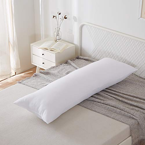 """Acanva Hypoallergenic Bed Sleeping Side Sleeper Body Pillow Insert, Full 20"""" x 54"""", White"""