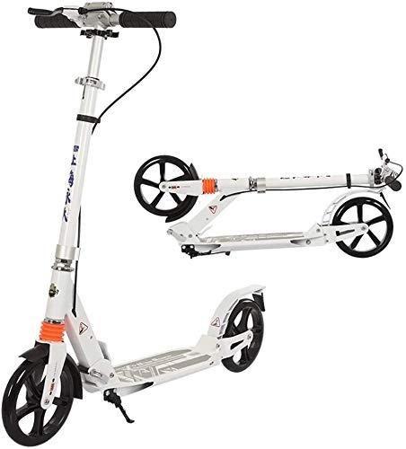 SJZLMB Patinete electrico Kick Adultos Scooter con Freno de Mano y de Doble Suspensión Plegable de Aluminio de Lujo Velero 2 Ruedas Grandes Soportes Regulables en Altura 150kg (Color : White)