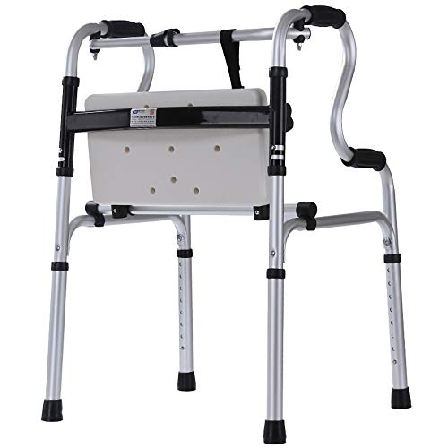 ZYDSD Andador Andador plegable Anciano auxiliar de aluminio con placa de asiento de plástico sin ruedas Equipo de rehabilitación para entrenamiento a pie Ancianos muletas andador Senior Apartment Nurs