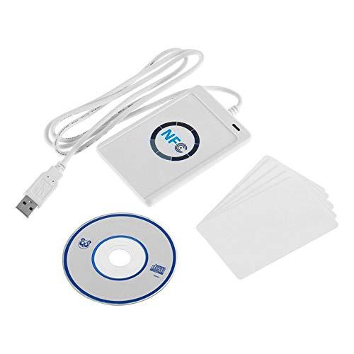 Peanutaod 1 juego de Lector de tarjetas inteligentes NFC RFID USB ACR122U Profesional para los 4 tipos de etiquetas NFC (ISO / IEC18092) + 5 piezas M1
