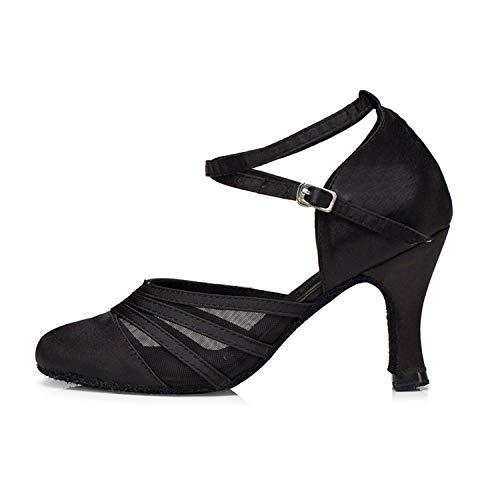 Naudamp para Mujer Zapatos de Baile de salón de Baile Latino Tango con tacón Alto y satén de Malla Alta