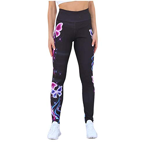 Keepwin Leggins Push Up Mujer Moda Estampado Elásticos Cintura Alta Pantalones Yoga Mujer Mallas Deportivos Mujer Entrenamiento Pantalon para Running Gym Fitness (Negro, x-Large)