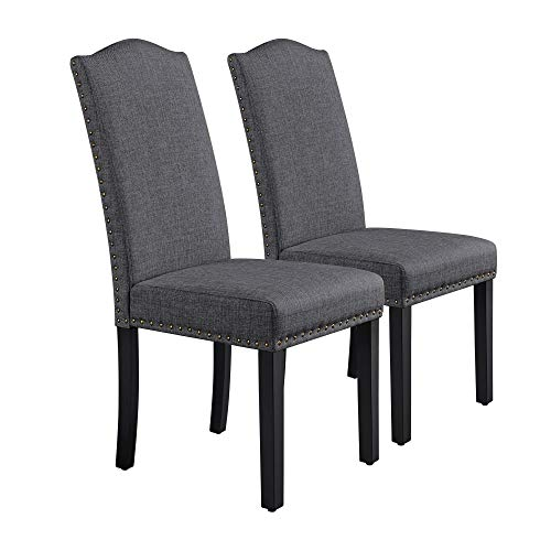 Yaheetech Set of 2 Dark Gray Fabric Dining Chairs Classic Kitchen Chair with High Back Solid Wooden Legs Soft Padded Seat for Home Dining Room Furniture