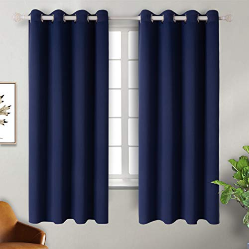 BGment Navy Blackout Curtains for Bedroom - Grommet Thermal Insulated Room Darkening Block Out Curtains for Living Room, Set of 2 Panels (52 x 63 Inch, Dark Blue)