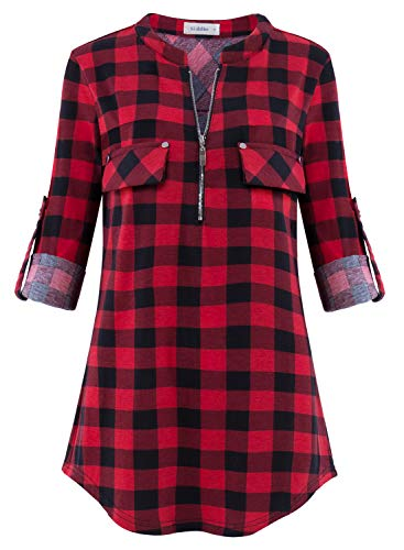 Siddhe Damen Kariert V-Ausschnitt Bluse Reißverschluss T-Shirt Oberteile Elegant 3/4 Ärmel Casual Longshirt, Rot-Schwarz Kariert XL