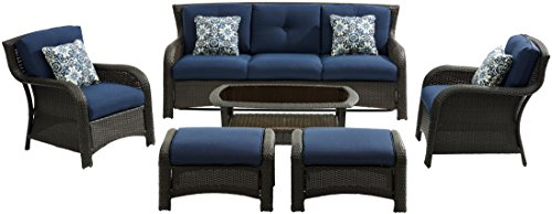 Hanover STRATH6PC-S-NVY Strathmere 6Piece Lounge Set in Navy Blue Outdoor Luxury Recliner