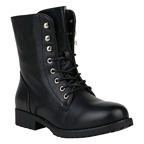 stiefelparadies Damen Stiefel Leicht Gefütterte Stiefeletten Schnürstiefeletten Schuhe 150341 Schwarz Schnürung 36 Flandell