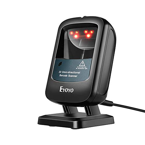 Eyoyo 2D Wired Desktop Barcode Scanner, Hands-Free 1D 2D PDF417 Data Matrix Bar code Reader, Wake Up Automatically, Screen Scan, USB Wired Scanner for Supermarket Library Retail Store