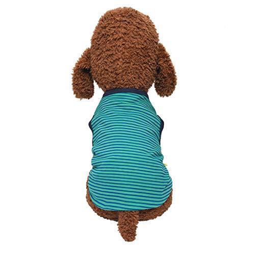 Coversolat Hundeshirts für Kleine Hunde Einfarbig Streifenshirt T-Shirt Weste Hundekleidung Hundekostüm Französische Bulldogge Chihuahua