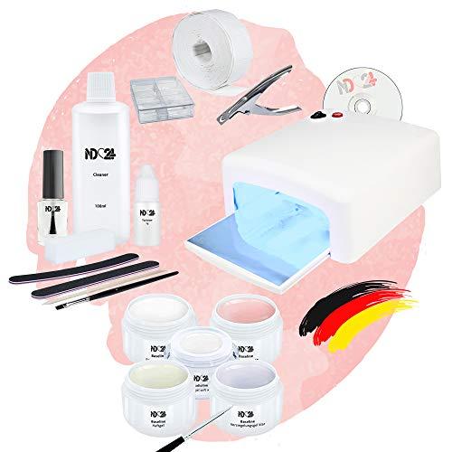 Nagelstudio Starter Set Basic UV French für Gelnägel mit Lampe + Gel Made in Germany und allem Zubehör