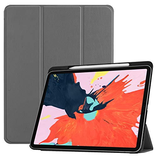 Case for Ipad Pro 12.9 Inch 2018, Full Body Protective Rugged Shockproof Case with Ipad Pencil Holder, Auto Sleep/Wake, with Ipad Pencil Slot,Gray