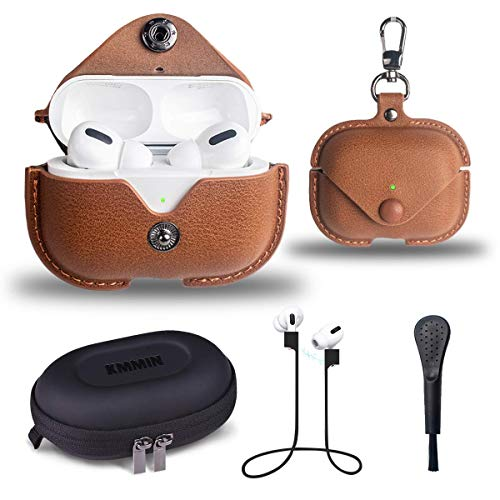 Airpods Pro Case, KMMIN Genuine Leather Airpods Pro Locking Case Cover with Keychain Support Wireless Charging, Compatible with Apple Airpods Pro Charging Case 2019 (Front LED Visible)-Brown