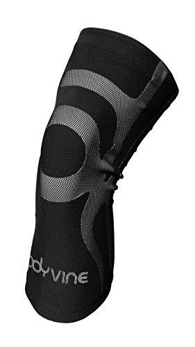BODYVINE Unisex– Erwachsene Triple 3-Lagen Kompressions Knie Bandage mit Power-Band Compression Taping, Grau, L