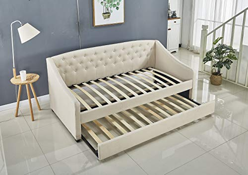 KOSY KOALA Linen fabric daybed cream colour with underbed trundle living room bedroom furniture guest day bed sofabed (Beige, Without matttresses)