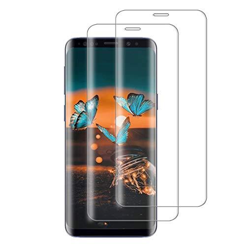 XSWO Cristal Templado Samsung S9 Plus/S9+ [2 Unidades], Protector de Pantalla Samsung Galaxy S9 Plus/S9+, [3D Cobertura Completa] [Alta-Sensibilidad] [Anti Arañazos] [Sin Burbujas] Vidrio Templado