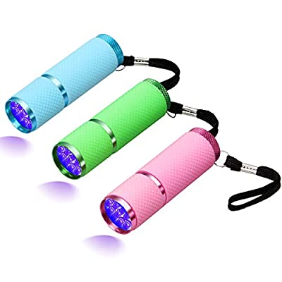 Coolrunner 3pcs UV LED Flashlight, Small Glow Flashlights with 9 LED UV Lights Lamp for Pet Urine Detector, Portable UV Light Nail Dryer for Nail Gel