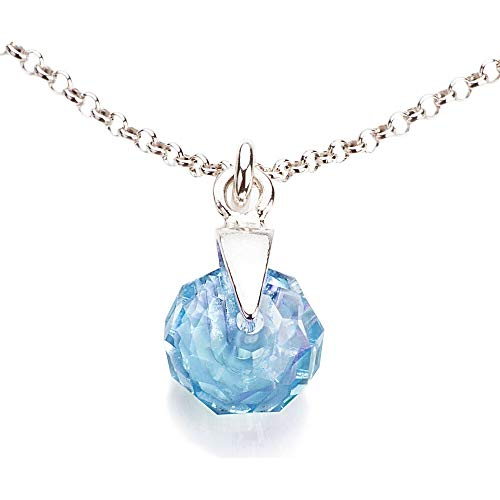 Ah! Jewellery 8mm Aquamarine Briolette Crystals from Swarovski Pendant Necklace. Solid Sterling Silver, Stamped 925. 45cm Chain Included.