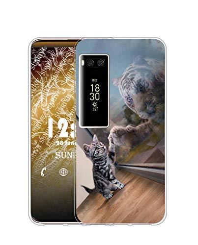 Sunrive Kompatibel mit Meizu PRO 7 Plus Hülle Silikon, Transparent Handyhülle Schutzhülle Etui Hülle (Q Katze 3)+Gratis Universal Eingabestift MEHRWEG