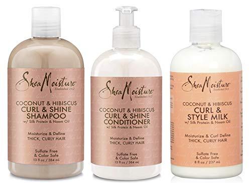Shea Moisture - Lot de 3 soins Curl & Shine à la coco et à l'hibiscus - cheveux bouclés - shampoing/après-shampoing/lait coiffant