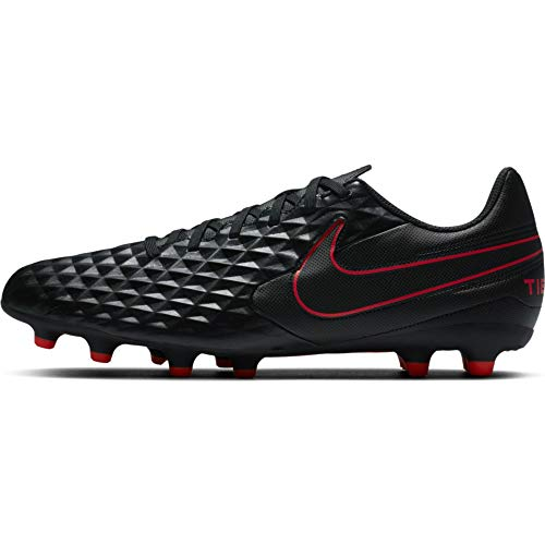 Nike Herren Legend 8 Club FG/MG Futsal-Schuh, Black/DK Smoke Grey-Chile RED, 39 EU