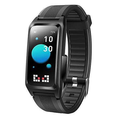 APCHY 2021 Nuevo Pulseras smartwatch Reloj Inteligente con Monitor de Salud del Sueño de la Presión Arterial de la Frecuencia Cardíaca de la Temperatura Corporal Rastreador de Actividad,Negro