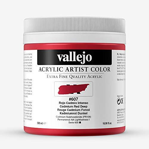 Vallejo : Artist Acrylic Paint : 500ml Pot : Cadmium Red Deep