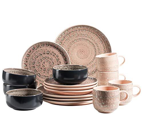 MÄSER 931743 Serie Spicy Market Handbemaltes Geschirr Set für 4 Personen in mediterranem Vintage Design, 16-teiliges Kombiservice aus Keramik, Rosa, Steingut