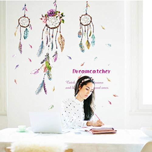 Nuevo Wind Chime Feather Wall Sticker Dormitorio Sala de estar Fondo Pintura decorativa se puede quitar, varios estilos de decoración del hogar