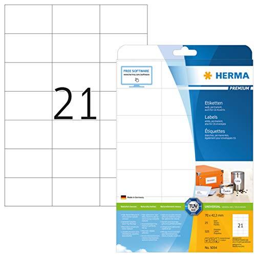 HERMA 5054 Universal Etiketten DIN A4 (70 x 42,3 mm, 25 Blatt, Papier, matt) selbstklebend, bedruckbar, permanent haftende Adressaufkleber, 525 Klebeetiketten, weiß