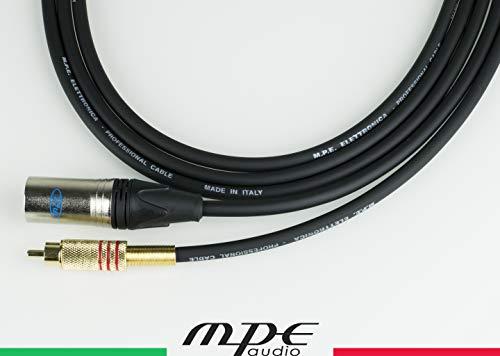 MPE Cavo per il collegamento tra mixer e casse attive 10mt Made in Italy con 1 RCA ed 1 XLR maschio MOD: M500-10 metri