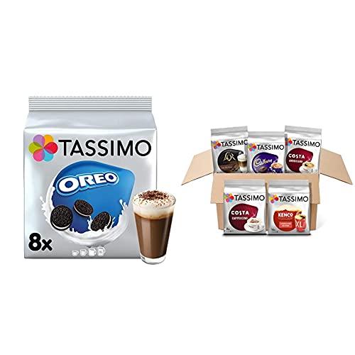 Tassimo Oreo Hot Chocolate Pods (Pack of 5, Total 40 Coffee Capsules) & Variety Box Costa, Kenco, Cadbury & L'OR Coffee Pods (Pack of 5, Total 56 Coffee Capsules)