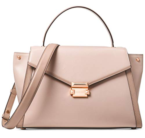 The Whitney satchel Crafted with Smooth Polished Leather combines sophistication and versatility in a structured top-handle silhouette detailed with contrast trim and pyramid-stud hardware. Complete with a detachable shoulder strap, it features winge...