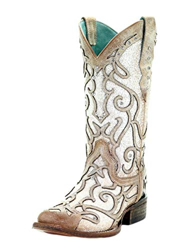 CORRAL C3482 White Glitter Inlay and Crystals Studs Square Toe Boots (6)