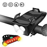 Tsuinz Bike Light Set, USB Rechargeable Bicycle Front Headlight and Back Taillight, 4 in 1 with Horn Phone Holder 4000mAh Power Bank 400 Lumen 3 Modes Bicycle Set for 4.0 to 6.5 inches