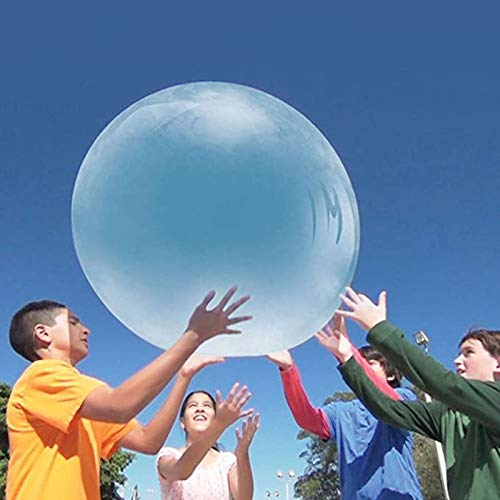 2PC Wubble Bubble Ball Toy for Adults Kids Large Inflatable Water Ball Giant Beach Garden Ball Soft Rubber Ball Outdoor Party Boys Girls 70cm When Inflated (Blue)