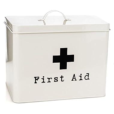 Harbour Housewares First Aid Medicine Storage Box in Vintage Metal - Cream