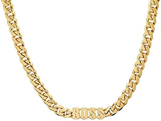 14K Gold BOSS Cuban link Chain Pendant Necklace Solid...
