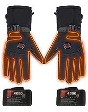 Verwarmbare handschoenen met accu, elektrische verwarmde motorhandschoenen voor mannen en vrouwen, instelbare temperatuur, touchscreen-verwarming, handwarmer voor fietsen, motorrijden, wandelen, skiën (zwart)