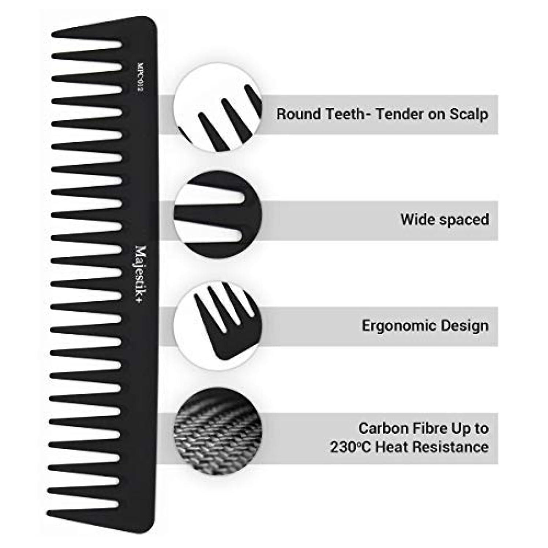 公爵夫人混乱した伝統Wide Tooth Comb- a Professional Carbon Fibre Hair Comb by Majestik+, Anti-Static, Strength & Durability, in Black and 100% of Satisfaction! [並行輸入品]
